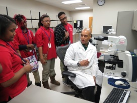 Students learn about processes and equipment in the cytology lab during an event last spring.