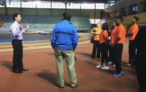 Pilgrim with students at the Trossplex for a recent Bridging the Gap event highlighting careers in the business of sports: event management, marketing, and facilities.